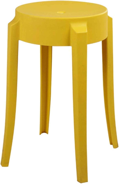 SLH Yellow Stool European Plastic Stool Home High Stool Creative Dining Table Stool