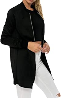 Womens Classic Jacket Long Sleeve Bomber Jacket Coat Bomber Jackets Mid Long Zip Up Coat