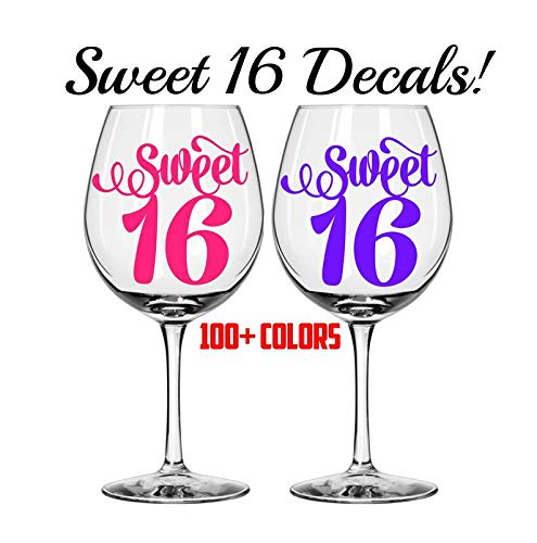 Zoete 16 Decals voor Bril Wijn Glas Champagne Glas Decal Glaswerk Decal Party Label Aangepaste Sticker Tumbler Decals Glas Stickers