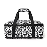 Insulated Casserole Carrier Bag - Casserole Dish and Carrier,Warm & Hot and Cold Food Carry Bag Potluck Parties,Picnic,Cookouts,Traveling,Beach(Black White-1)