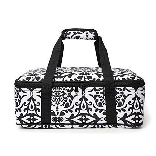 FATOLXX Insulated Casserole Carry Bag - Decker Casserole Carrier Tote Food Bag Potluck Parties,Picnic,Cookouts,Traveling,Beach(Black White-1)