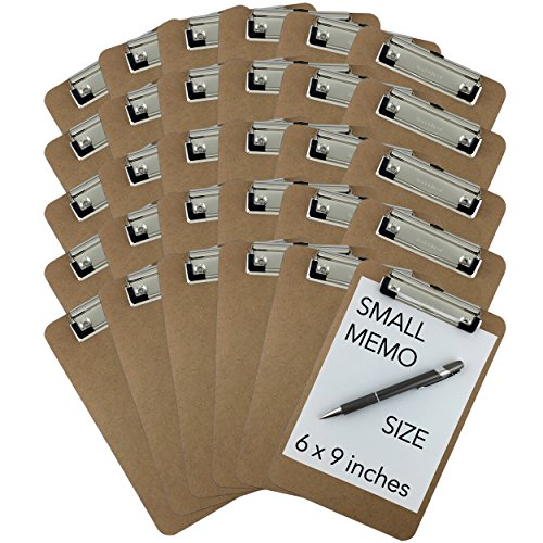 Trade Quest Memo Size 6'' x 9'' Clipboards Low Profile Clip Hardboard (Pack of 30) (Pen Not Included - for Scale Only)