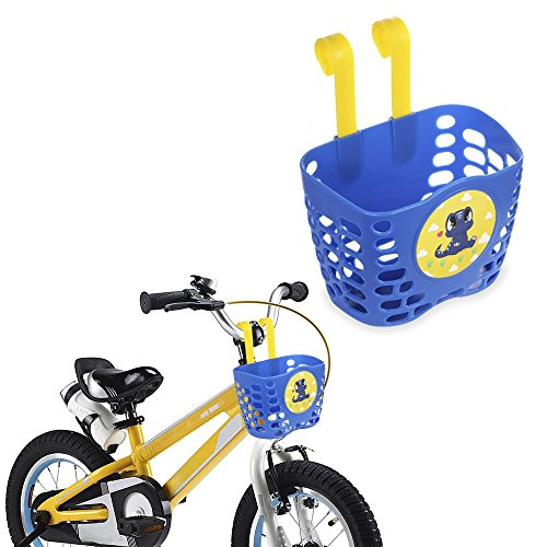 MINI-FACTORY Kid's Bike Basket, Cute Dinosaur Pattern Bicycle Handlebar Basket for Boy - Blue Dinosaur