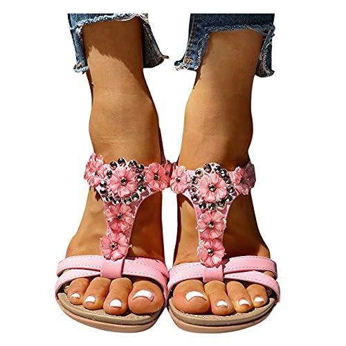 BIBOKAOKE Sandales d'été pour femme - Sandales plates...