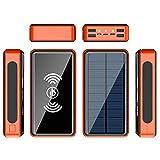 CDBK Batería Externa Solar Cargador Solar 50000Mah, Power Bank Solar Inalámbrico con Entrada Tipo C Y 4 Salidas USB, Powerbank Cargador Portatil Bateria Externa con Linterna LED