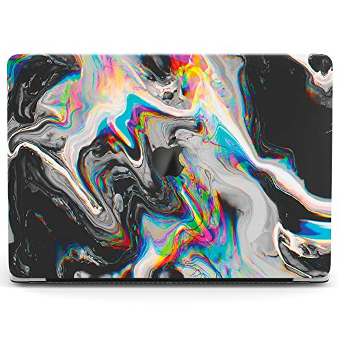 Wonder Wild Case For MacBook Air 13 inch Pro 15 2019 2018 Retina 12 11 Apple Hard Mac Protective Cover Touch Bar 2017 2016 2015 Plastic Laptop Print Glitch Art Abstract Black Holographic Paint Rainbow