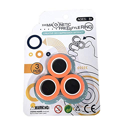 YIY Magnet Toys, Fidget Spinner, Stress Relief Magnetic Ring Finger Spinning in the Air, Colorful Magnetic Rings Fidget Toy, Anti-stress Fidget for Games, Kid, Adult (Orange)