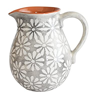 Euro Ceramica Margarida Collection 8  Terra Cotta Decorative Pitcher, 2LT, Floral Hand-Painted Design, Gray & White