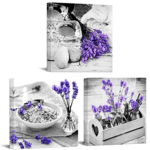Nachic Wall - 3 Piece Canvas Wall Art for Bedroom Bathroom Wall Decor Purple Lavender Flower and Zen Stone Painting Pictures Print on Canvas Spa Still Life Artwork Framed Ready to Hang