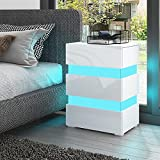Senvoziii Nachttisch Kommode Hochglanz mit 3 Schubladen Nachtschrank LED-Beleuchtung Nachtkommode Sofa Tisch für Schlafzimmer Büro Wohnzimmer - Weiß