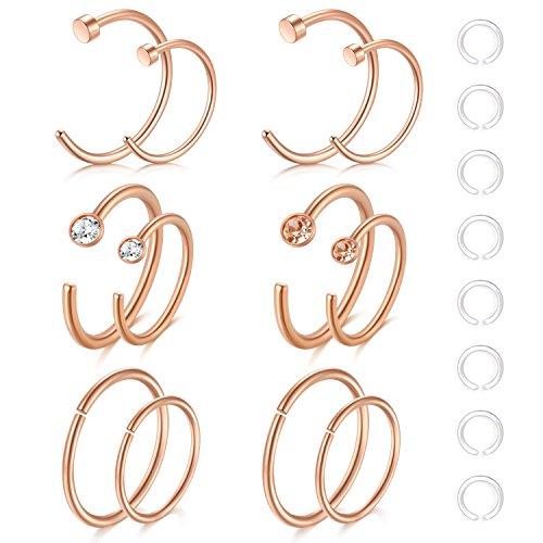 Zolure 12-16stk 20 Gauge Nasenpiercing Nasenring Hoop Piercing 316L Chirurgenstahl Piercing Set Schmuck Rose Gold