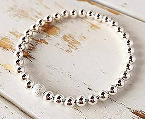 Fashion Stretchy Bracelets with Silver Beads, Star Dust 10 mm