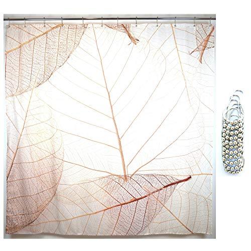 Juici Home Duschvorhang mit Blättermotiv, inkl. 12 Metallgleit-Haken, bedruckter Stoff, Landhaus-Duschvorhang, Blatt-Muster, passend für moderne Heimdekoration, Duschvorhang-Set, 182,9 x 182,9 cm