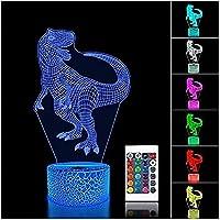 リモコン付き3DイリュージョンLEDナイトライト16色変化するイリュージョンUSBテーブルランプ恐竜1