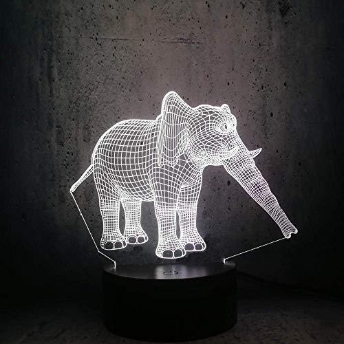 3D Illusion Lamp Led Night Light Thailand Elephant USB Animal Color Desk Lamp Change Bedroom Children Birthday Gift Toys Best Birthday Holiday Gifts for Children