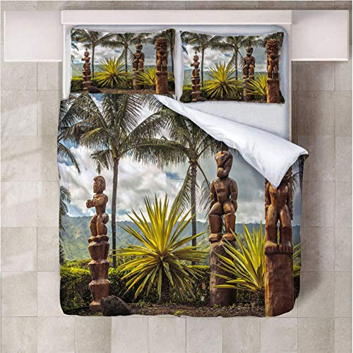 Aopoy King Size Star Earth 3D Printing Quilt Cover Microfiber Duvet Cover Hotel Bedroom Snti-allergy Bedding 3-piece set Single Double -Wooden man_140 * 200cm