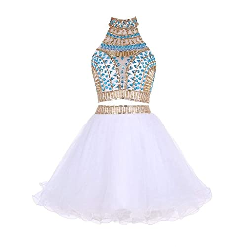 3eb0b4fbaa inmagicdress Two Pieces Homecoming Dresses High Neck Short Graduation Gowns  41