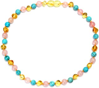 JUCOO New Design Beaded Necklace Kallaite Amber Baby Women Jewelry Teething Gift Beads