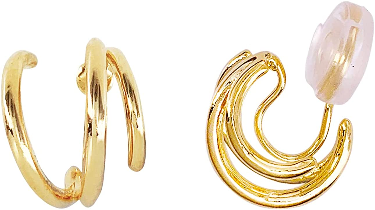 HAISWET Twisted Gold Tone Boho Style Art Deco Wire Wrapped Clip On Earrings Stud