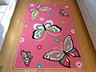 Rugs Supermarket Kids Non Slip Machine Washable Butterfly Play Mat. Available in 3 Sizes (80cm x 120...
