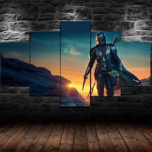 Rahmenlos Leinwanddrucke 5 Teilig Leinwandbilder Bild Auf Leinwand Wandbild Hd Kunstdruck Wand Wanddeko 5 Tafeln Wandkunst Bild Star Wars Baby Yoda Mandalorian Malerei Kreatives Geschenk 200X100