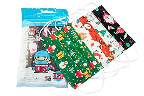 PAIDE P Mascarillas Higiénicas Estampado Navidad Infantiles 20 Unidades (C1)