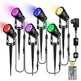 RGB Gartenbeleuchtung,GREEMPIRE 6er Set RGB Gartenstrahler LED mit Erdspieß Gartenleuchte,Außenleuchte mit Stecker,RGB Gartenlampe IP65 Wasserdicht Spotbeleuchtung,Wegbeleuchtung Rasenlicht für Außen
