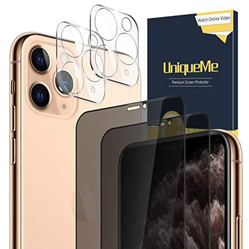 UniqueMe [2 Piezas] Protector de Pantalla de Privacidad + [2 Piezas] Protector de lente de cámara para iPhone 11 Pro Max 6.5 pulgadas [Anti Voyeur] Vidrio Templado [9H Dureza] HD Film Cristal Templado