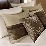 Madison Park - Palmer 7 Piece Comforter Set - Natural - Queen - Pieced Microsuede - Includes 1 Comforter, 3 Decorative Pillows, 1 Bed Skirt, 2 Shams