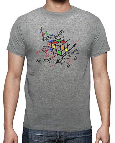 latostadora - Camiseta Cubo Rubick Esquema Negro para Hombre Gris vigoré L