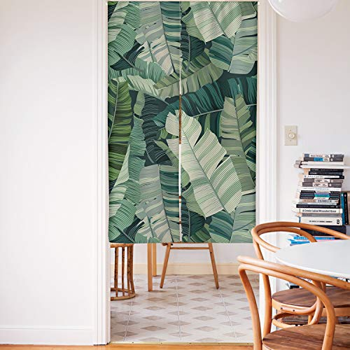 Spanker Space Aesthetic Style Simple Tropical Green Leaves Japanese Noren Doorway Curtain Fabric Cotton Linen for Home Kitchen Door Decor 34 x 59 Inches