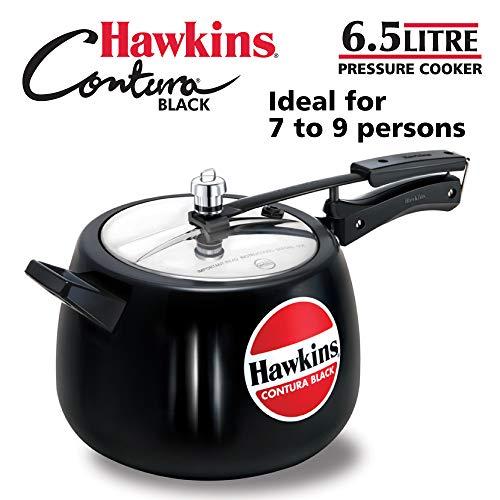 Hawkins CB65 Hard Anodised Pressure Cooker, 6.5 Litres, Contura Black