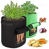 AivaToba Pflanzen Wachsen Taschen,2 Pack Kartoffelsack (10 Gallon + 7 Gallon) Vliesstoff Atmungsakti...