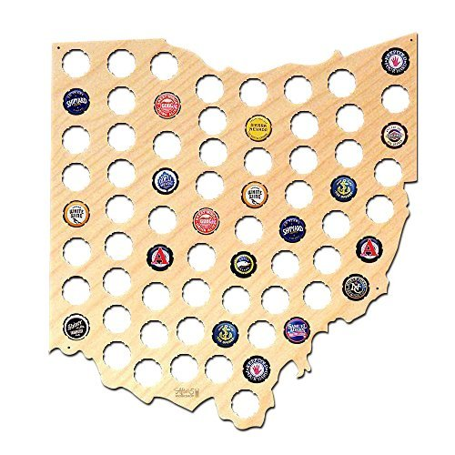 Wall Decor Leiacikl22 Designed Ohio Beer Cap Map Cool Birthday Gifts for Men Beer Cap Crafts 38x42cm