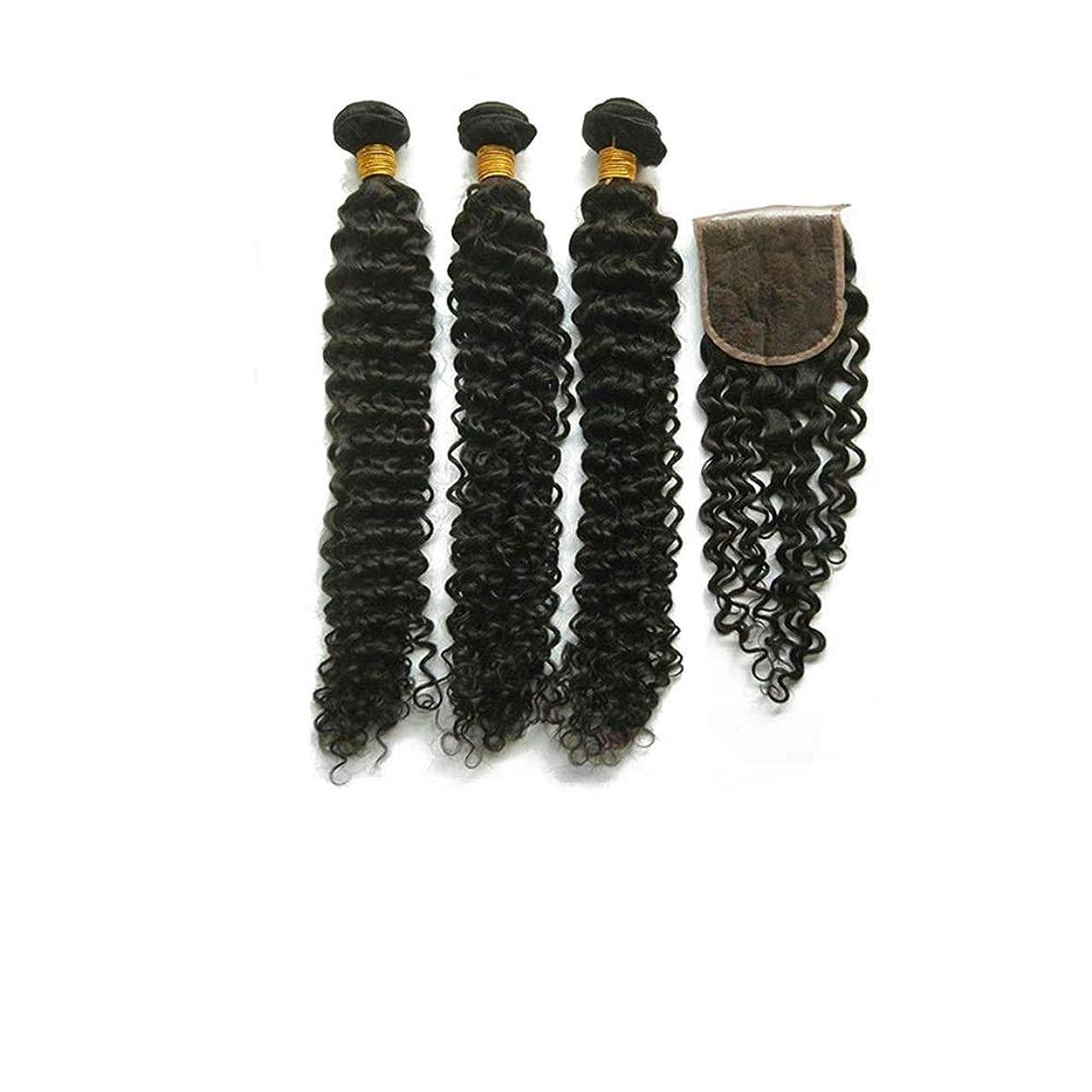 職業限界あいまいなBOBIDYEE ブラジルの黒人男性の深い巻き本物の人間の髪の毛の編み物のかつら合成毛レースのかつらロールプレイングかつら (色 : 黒, サイズ : 24inch)