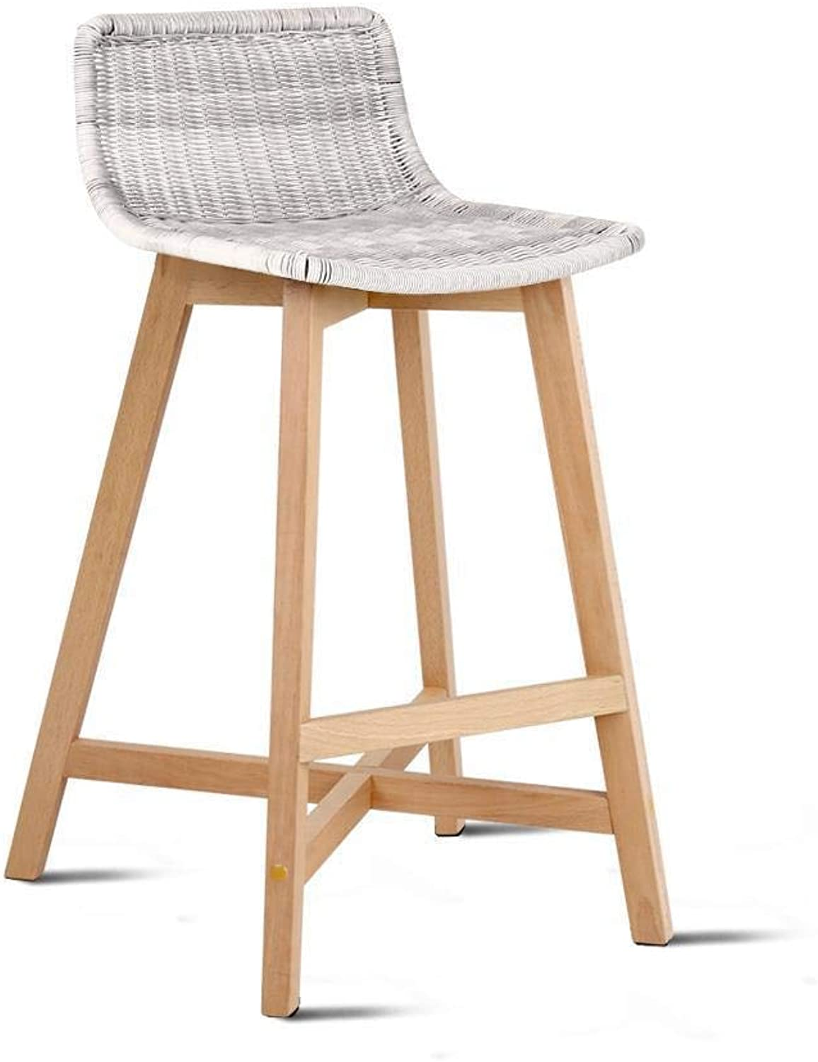 2 x Artiss Bar Stool Rattan Counter Bar Chair Wicker Wooden Kitchen Dining Stool, Offwhite