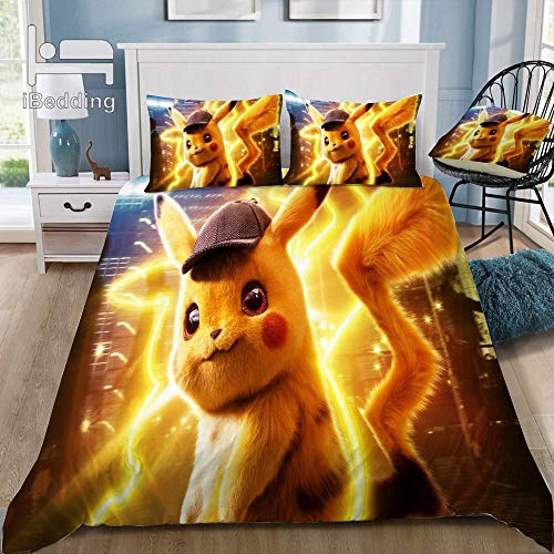 Snoevpar 3-Piece Bedding Set With 3D Duvet Cover – Cartoon Anime Character 230 * 220Cm 3-Piece Bedding Set (Duvet Cover + 2 Pillow Cases), Thick And Soft