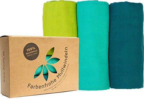 divata Bunte Baby Spucktücher (3er Set, Junge, 80x80 cm) - Farbige Mullwindeln, Mulltücher | 100% Baumwolle, Oeko-Tex-Zertifiziert