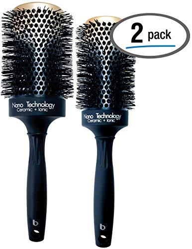 Hairbrush Set (2 Pcs), Round Ceramic Ionic Nano Technology...