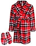 Too Cool 2 Sleep Boys Printed Robe Slippers, Red Plaid, 7/8'