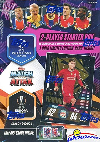 2020/21 Topps Match Attax Champions League Soccer Factory Sealed STARTER Box with 39 Brand New Cards Including EXCLUSIVE GOLD LIMITED EDITION Card & 2 Goalkeeper Cards! PLUS Game Mat & Rules! WOWZZER!
