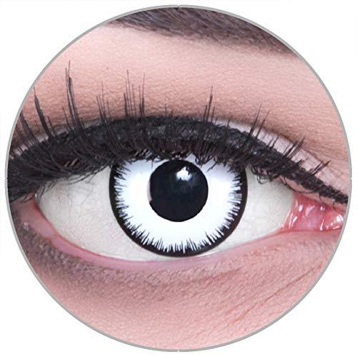 Funnylens Farbige schwarze Kontaktlinsen Lunatic mit Stärke - weich ohne Stärke 2er Pack + gratis Behälter – 12 Monatslinsen - perfekt zu Halloween Karneval Fasching oder Fasnacht -4.00