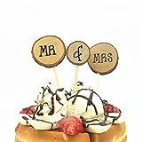 "AKOAK 3 Pcs/Set Wooden Cake Topper ""MR & MRS"" Shabby Chic Rustic Wedding Cake Topper Pick Decoration"