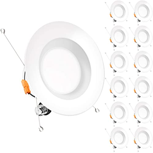 Bbounder (12 Pack) 5/6 inch LED Dimmable Recessed Lighting, Retrofit Downlight with Smooth Trim, 5000K Daylight, 12W=...
