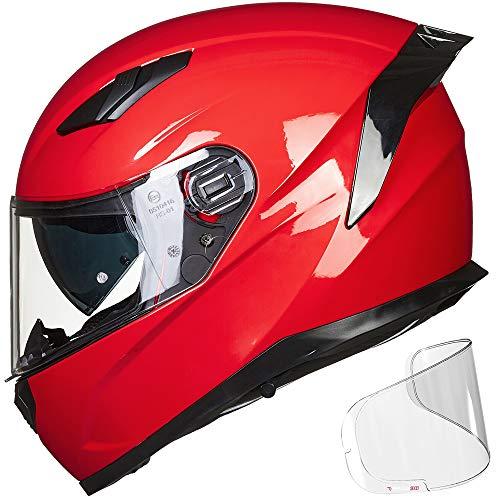 ILM Motorcycle Snowmobile Full Face Helmet Pinlock Insert Anti-fog Dual Visor Motocross ATV Casco for Men Women DOT (Red, XS)