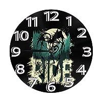 ライドインマウンテン 壁掛け時計 置き時計 目覚まし時計 円形 時計 数字 バッテリー 掛け時計 アイデア個性 ファッション インテリア