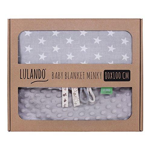 LULANDO Babydecke Kuscheldecke Krabbeldecke aus 100{65ebf23f7ab3e2aa342e0cc16d14f0dc54ddd1ef9b3905d437a8b6ff9e824ace} Baumwolle (80x100 cm). Super weich und flauschig. Kuschelige Lieblingsdecke für Ihr Baby. Farbe: Grey - White Stars / Grey