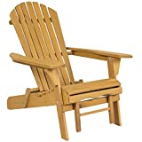 Best Choice Products Folding Adjustable Outdoor Wooden Adirondack Chair w/Pullout Ottoman, Natural
