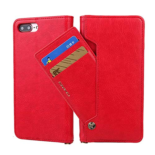 LLGHT Fundas para iPhone 12/12 ProMax, Billetera de Cuero Genuino Estuche Tipo Folio Estuche Protector Compatible con iPhone 12/12 Pro 5G, Bolsillo para Dinero (Color : Red, Size : IPhone8/7)