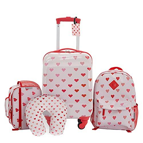 Travelers Club Kids' 5 Piece Luggage Travel Set, Hearts